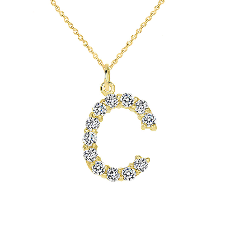 "Initial ""C"" CZ Letter Pendant/Necklace in Solid Gold"