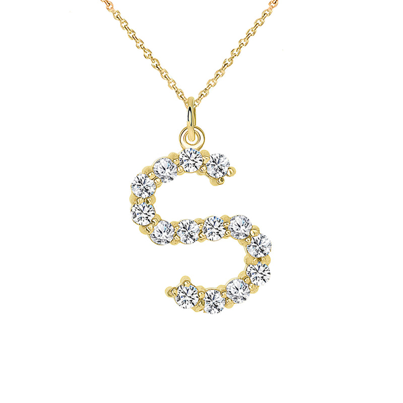 "Initial ""S"" CZ Letter Pendant/Necklace in Solid Gold"