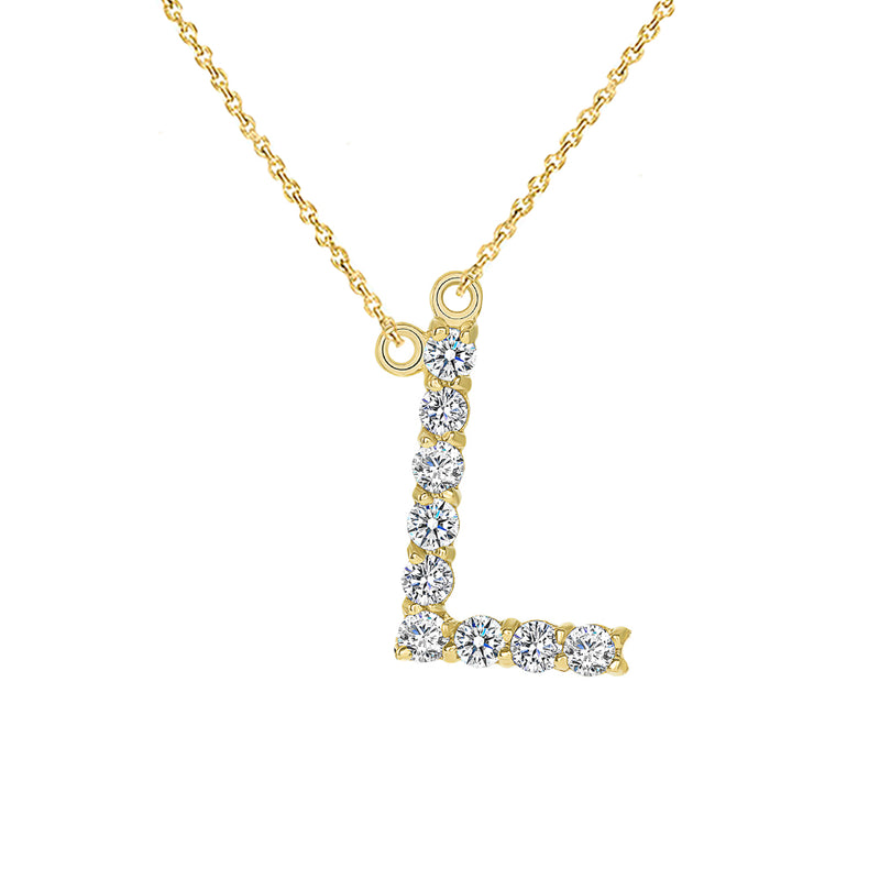 "Initial ""L"" CZ Letter Necklace in Solid Gold"