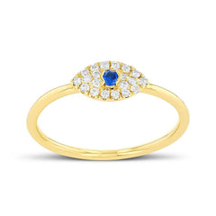 Dainty Diamond & Sapphire Evil Eye Ring In Gold (Yellow, Rose & White)