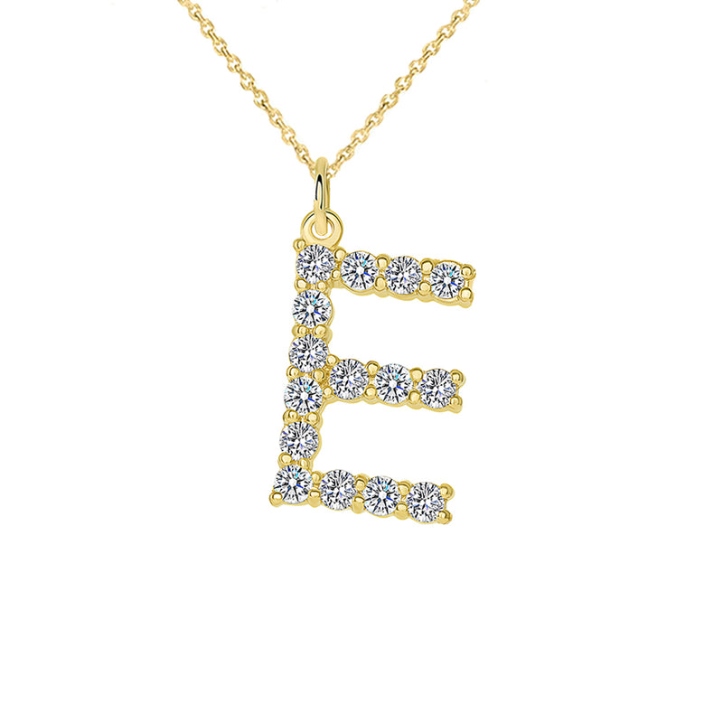 "Initial ""E"" CZ Letter Pendant/Necklace in Solid Gold"