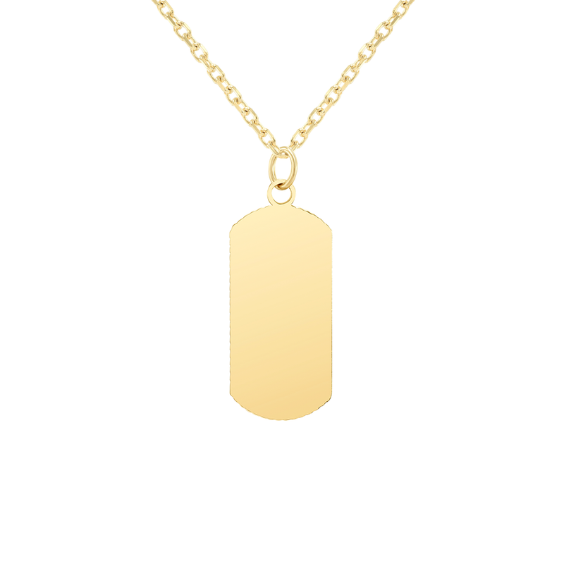 "Customizable Dog Tag Initial ""R"" Necklace/Pendant in Solid Gold"