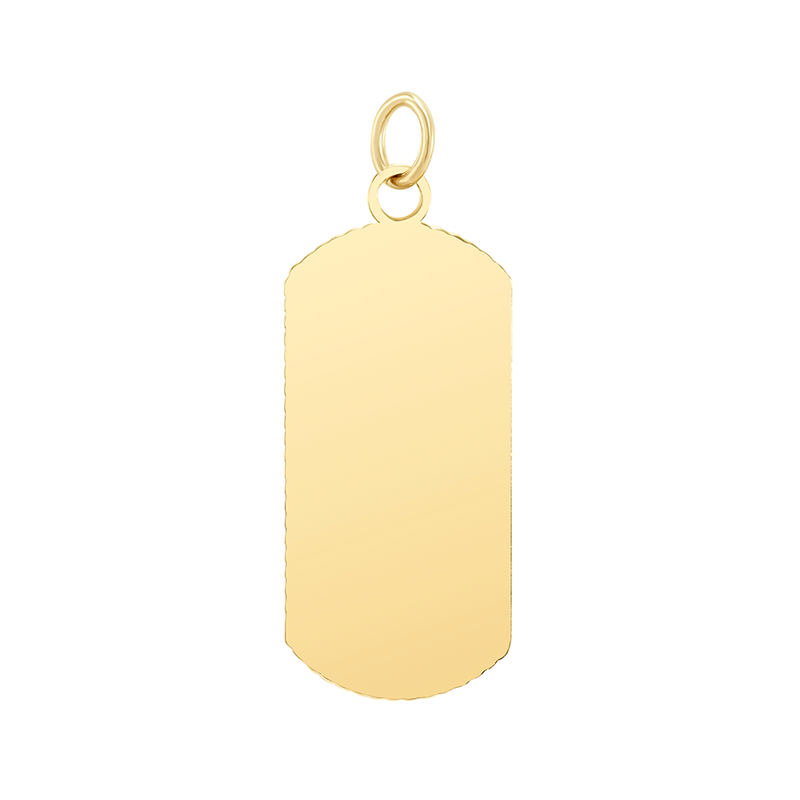 "Customizable Dog Tag Initial ""Q"" Necklace/Pendant in Solid Gold"