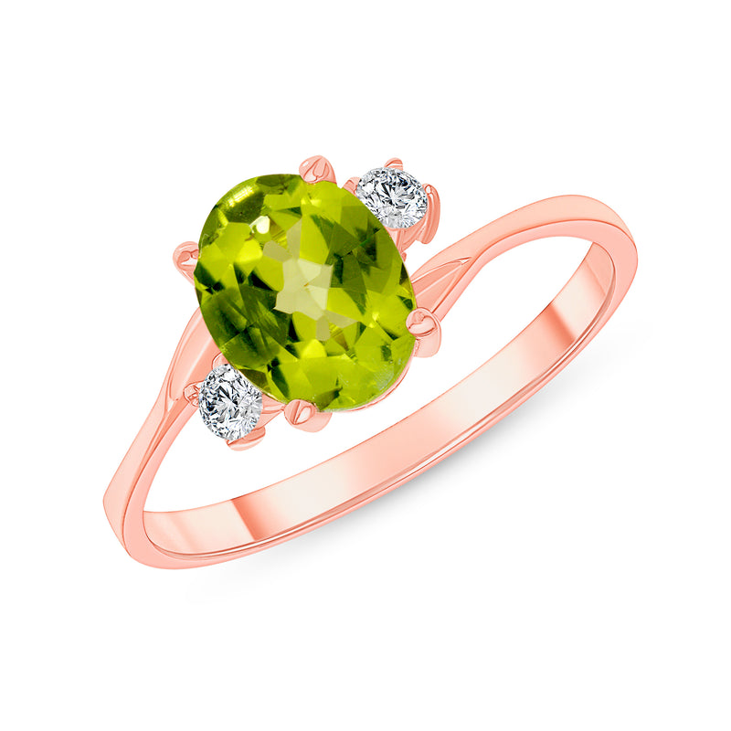Oval Genuine Peridot Gemstone Ring In Rose Gold