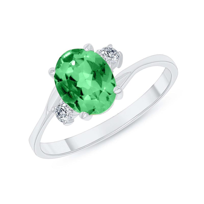 Oval Lab Created Emerald Gemstone Ring In White Gold