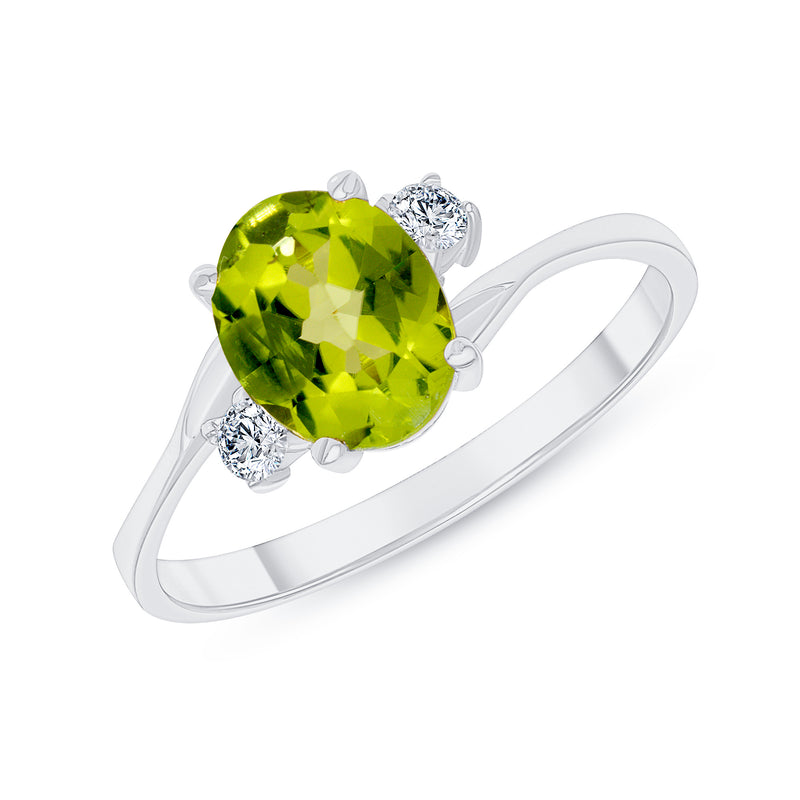 Oval Genuine Peridot Gemstone Ring In White Gold