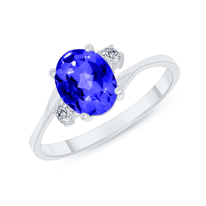 Oval Lab Created Sapphire Gemstone Ring In White Gold
