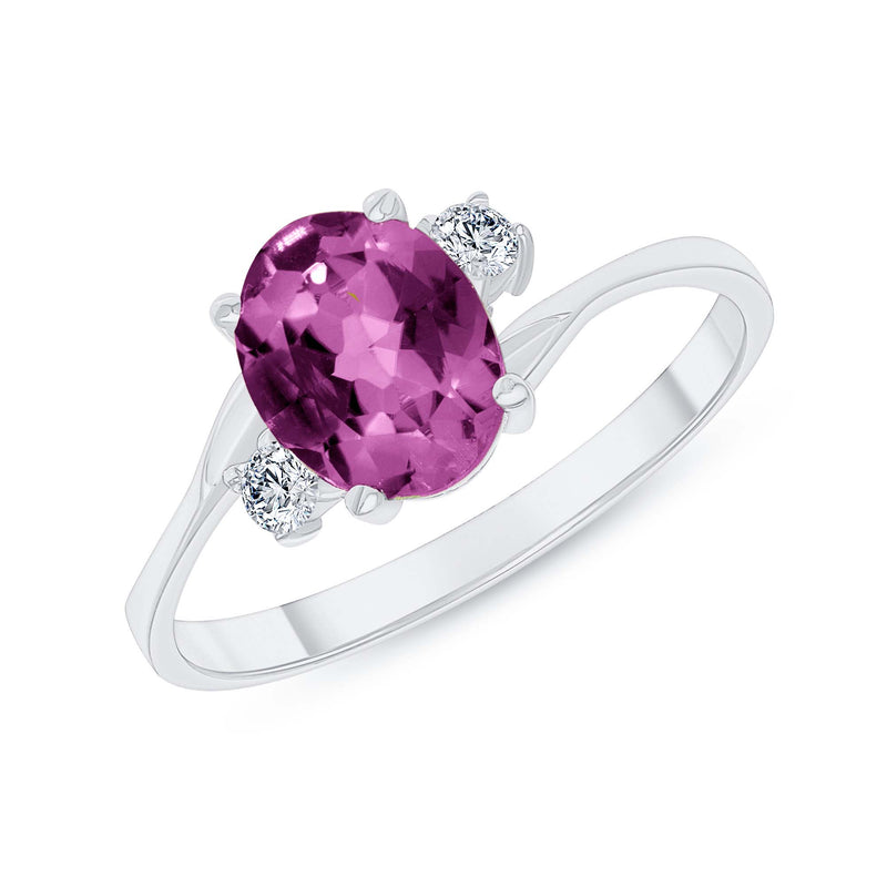 Oval Lab Created Alexandrite Gemstone Ring In White Gold