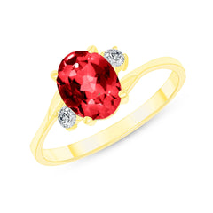 Oval Lab Created Ruby Gemstone Ring In Yellow Gold