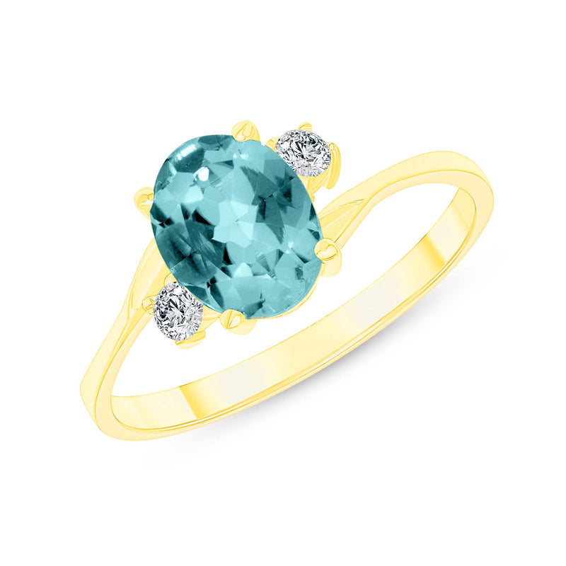 Oval Genuine Aquamarine Gemstone Ring In Yellow Gold