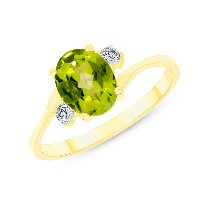 Oval Genuine Peridot Gemstone Ring In Yellow Gold