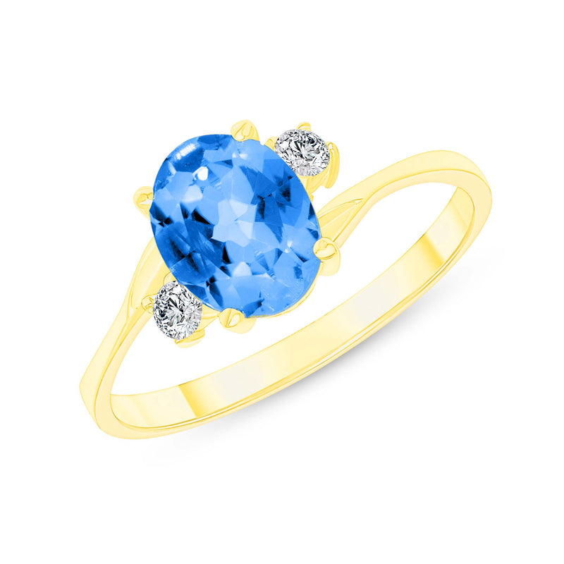 Oval Genuine Blue Topaz Gemstone Ring In Yellow Gold