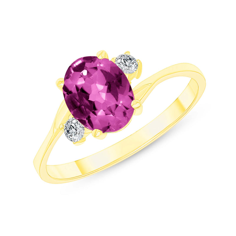 Oval Lab Created Alexandrite Gemstone Ring In Yellow Gold
