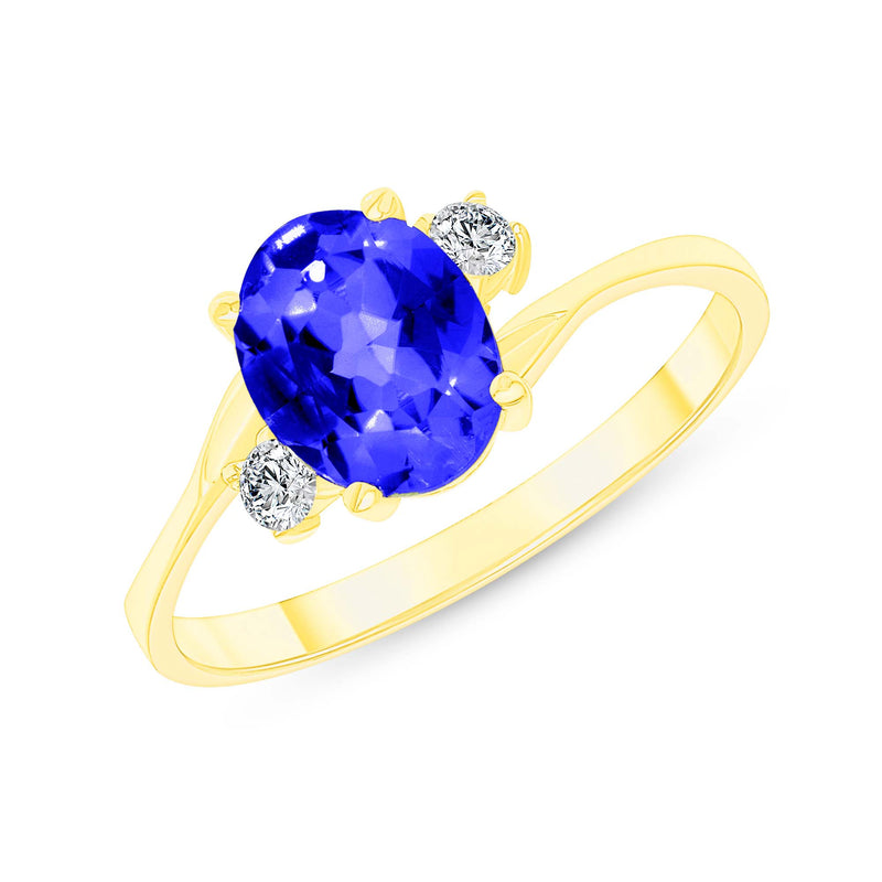 Oval Lab Created Sapphire Gemstone Ring In Yellow Gold