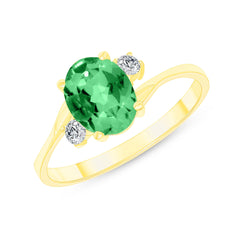 Oval Lab Created Emerald Gemstone Ring In Yellow Gold