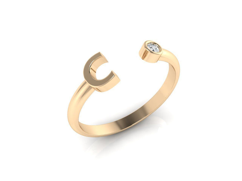 Dainty Diamond Initial 'C' Ring in Yellow Gold