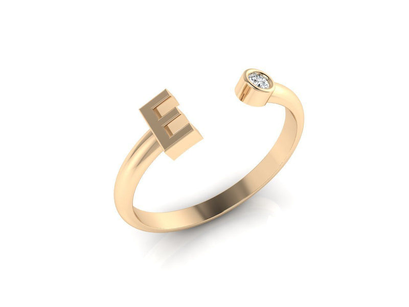 Dainty Diamond Initial 'E' Ring in Yellow Gold