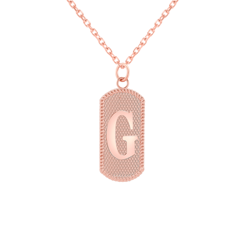 "Customizable Dog Tag Initial ""G"" Necklace/Pendant in Solid Gold"