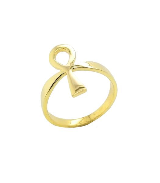Ankh Key of Life Ring in Solid Yellow Gold