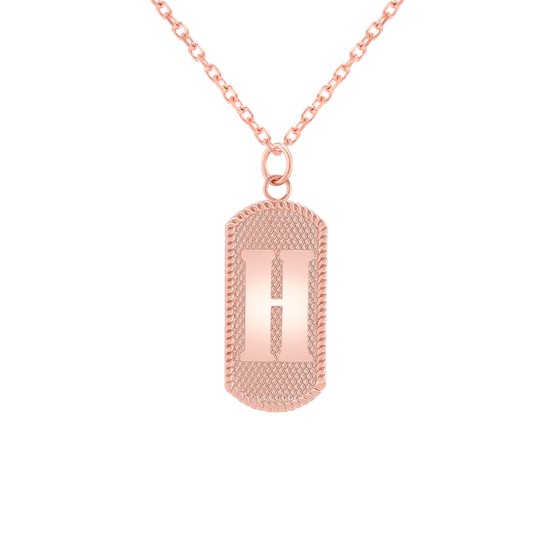 "Customizable Dog Tag Initial ""H"" Necklace/Pendant in Solid Gold"