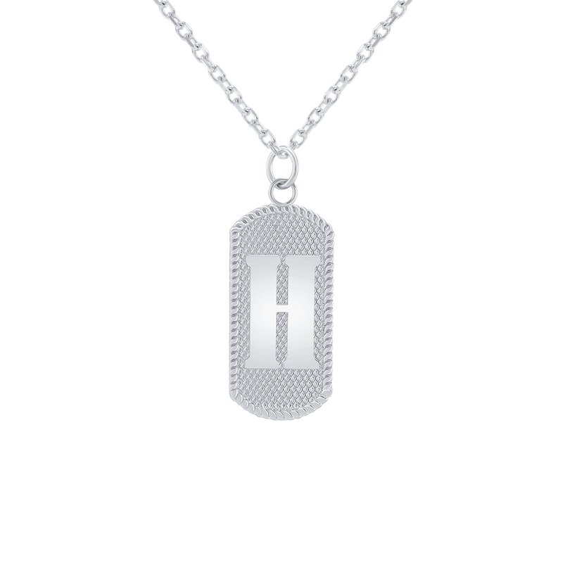 "Customizable Dog Tag Initial ""H"" Necklace/Pendant in Sterling Silver"
