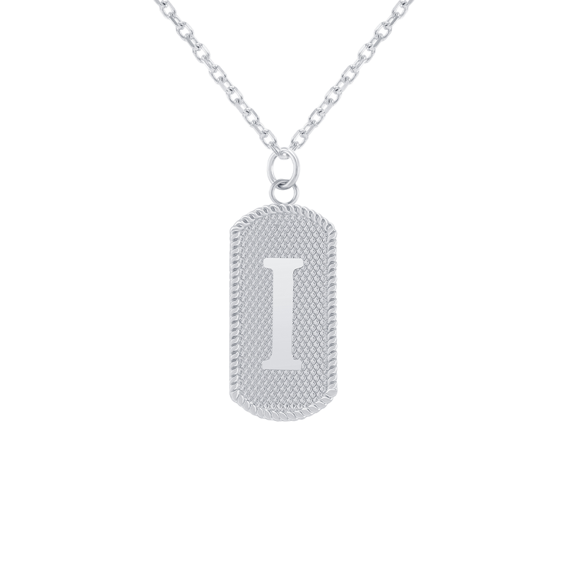 "Customizable Dog Tag Initial ""I"" Necklace/Pendant in Sterling Silver"