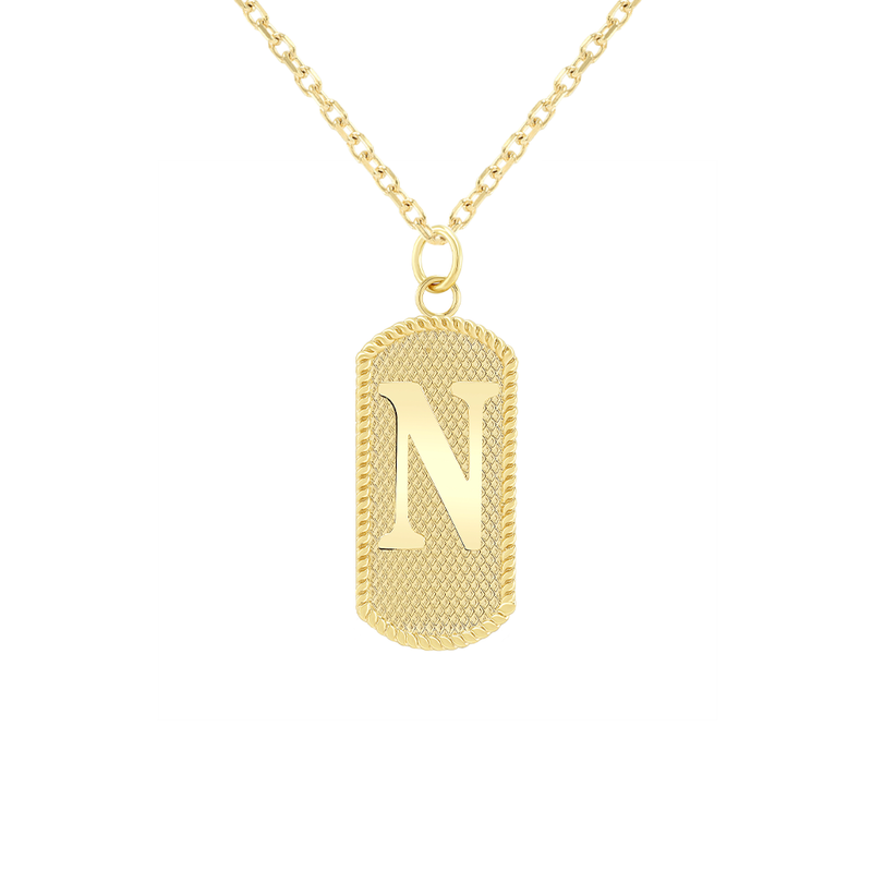 "Customizable Dog Tag Initial ""N"" Necklace/Pendant in Solid Gold"