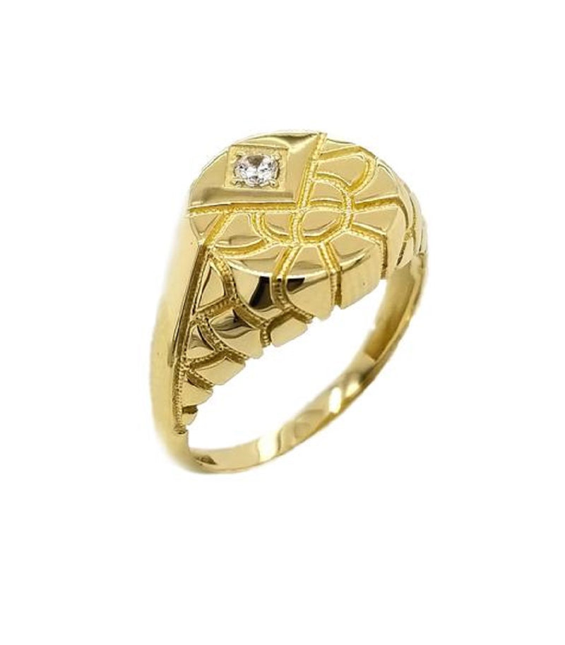 Diamond Nugget Round Signet Solid Yellow Gold Ring