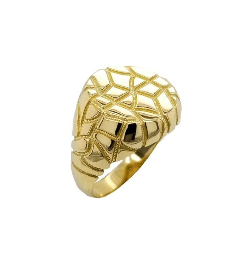 Modern Mens Nugget Ring In Solid Yellow Gold