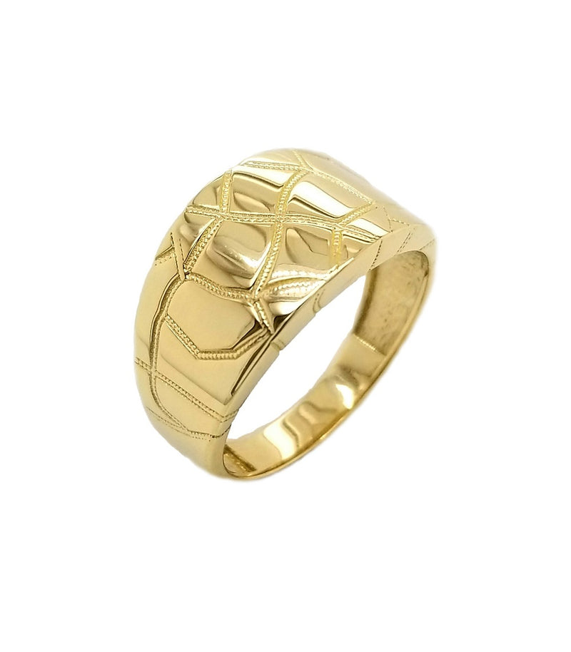 Nugget Signet Mens Ring In Solid Yellow Gold