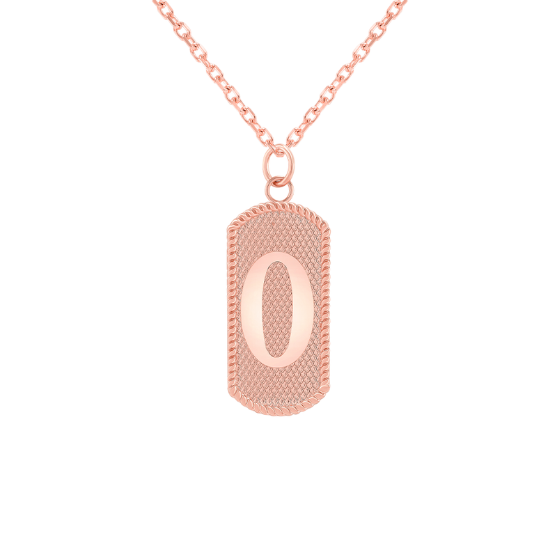 "Customizable Dog Tag Initial ""O"" Necklace/Pendant in Solid Gold"