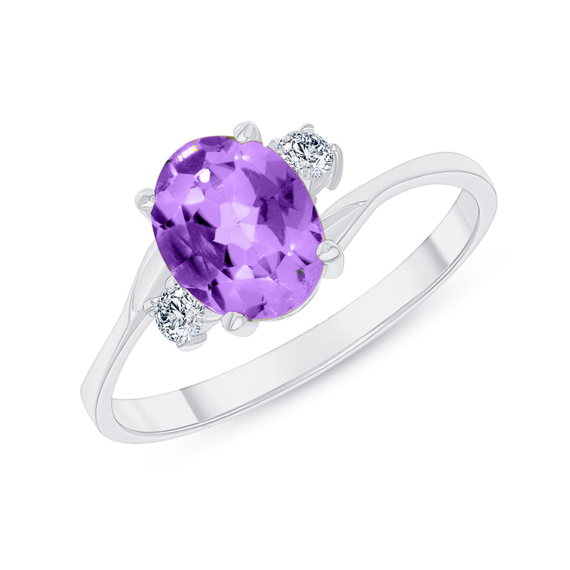 Oval Genuine Amethyst Gemstone Ring In White Gold