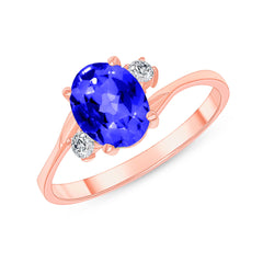 Oval Lab Created Sapphire Gemstone Ring In Rose Gold
