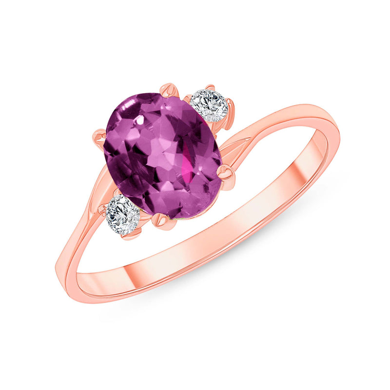 Oval Lab Created Alexandrite Gemstone Ring In Rose Gold