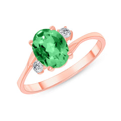 Oval Lab Created Emerald Gemstone Ring In Rose Gold