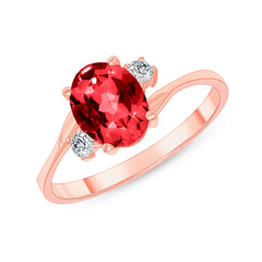 Oval Lab Created Ruby Gemstone Ring In Rose Gold