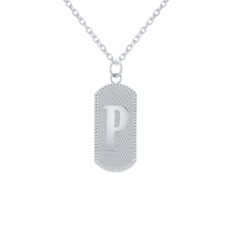 "Customizable Dog Tag Initial ""P"" Necklace/Pendant in Sterling Silver"