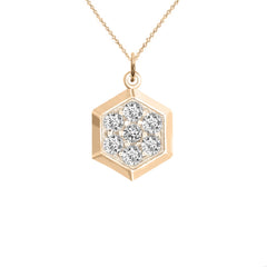 Honeycomb Diamond Necklace/Pendant In Solid Gold