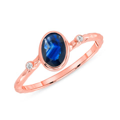 Diamond and Genuine Sapphire Ring in Rose Gold