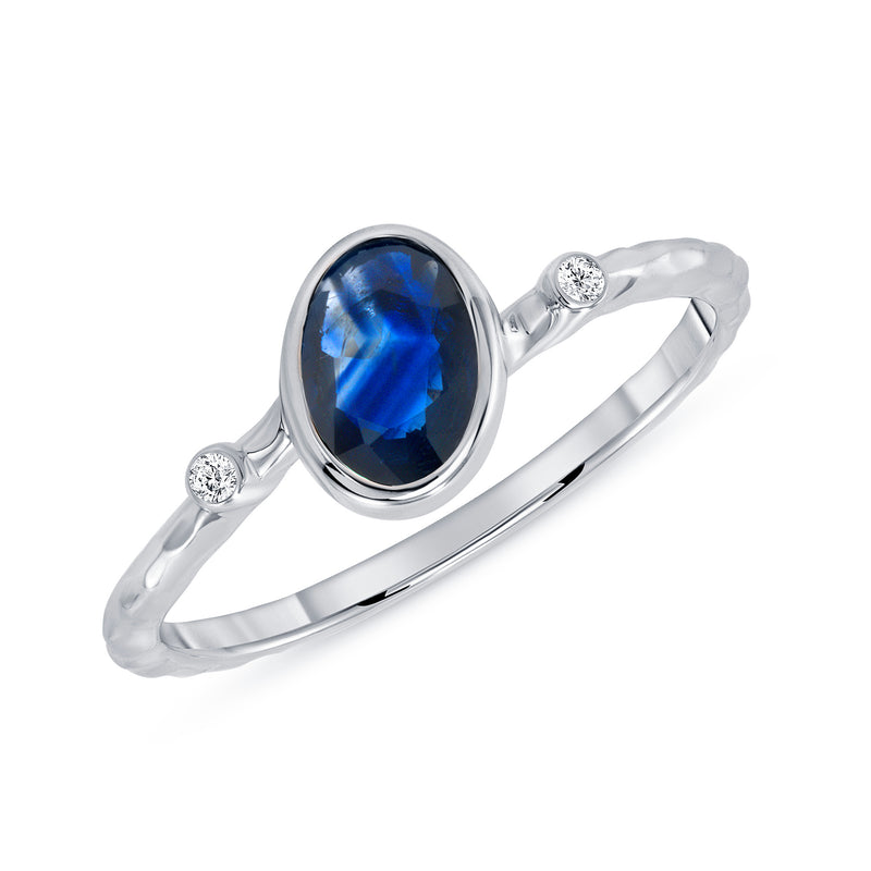 Diamond and Genuine Sapphire Ring in White Gold