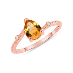 Pear Shape Genuine Citrine and Diamond Ring in Rose Gold