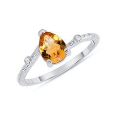 Pear Shape Genuine Citrine and Diamond Ring in White Gold