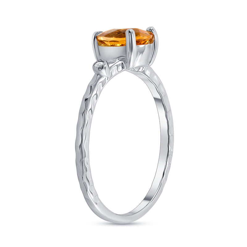 Pear Shape Genuine Citrine and Diamond Stackable Ring in White Gold