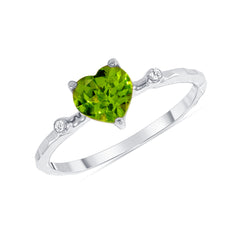 Hammered Heart Shape Peridot & Diamond Stackable Ring In Solid White Gold