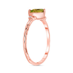 Hammered Heart Shape Peridot & Diamond Stackable Ring In Solid Rose Gold