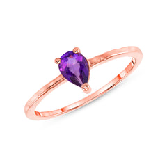 Pear Shape Genuine Amethyst Stackable Ring in Rose Gold