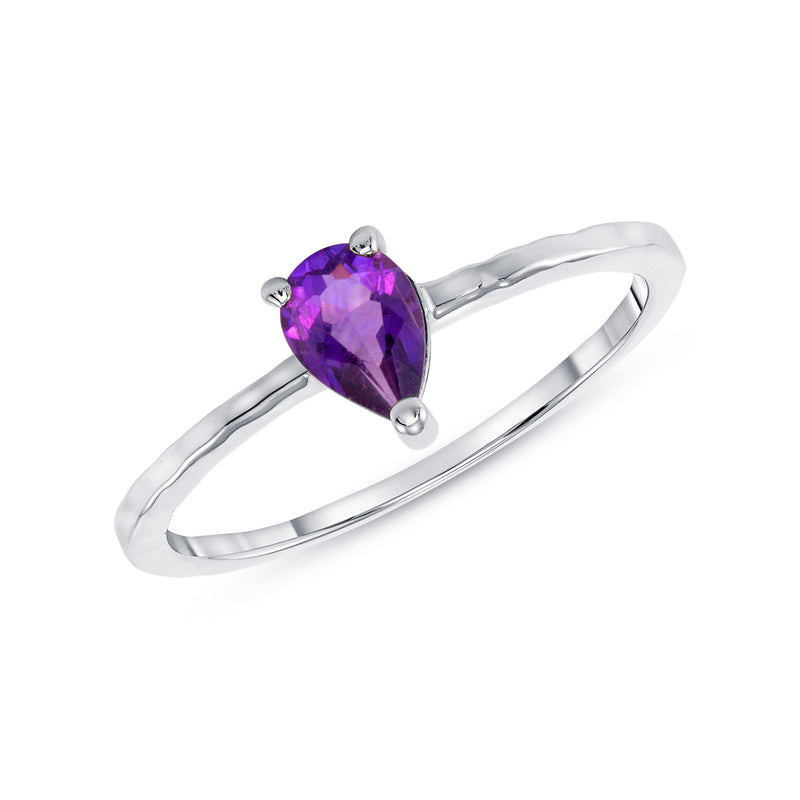 Pear Shape Genuine Amethyst Ring in White Gold