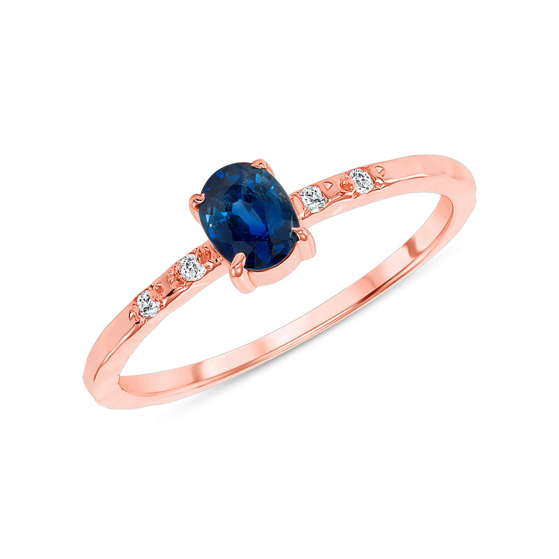 Diamond and Genuine Oval Sapphire Ring in Rose Gold