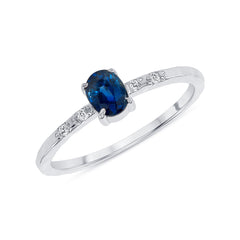 Diamond and Genuine Oval Sapphire Ring in White Gold