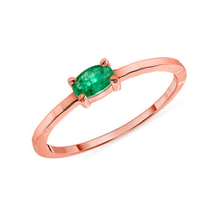 Genuine Oval Emerald Ring in Rose Gold